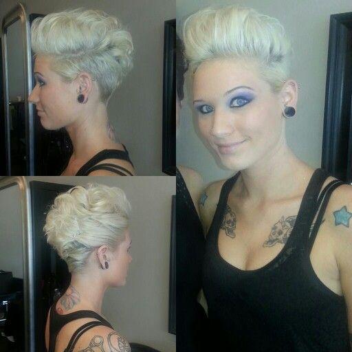 Short hair. Shaved side. Blonde hair. Platinum hair.