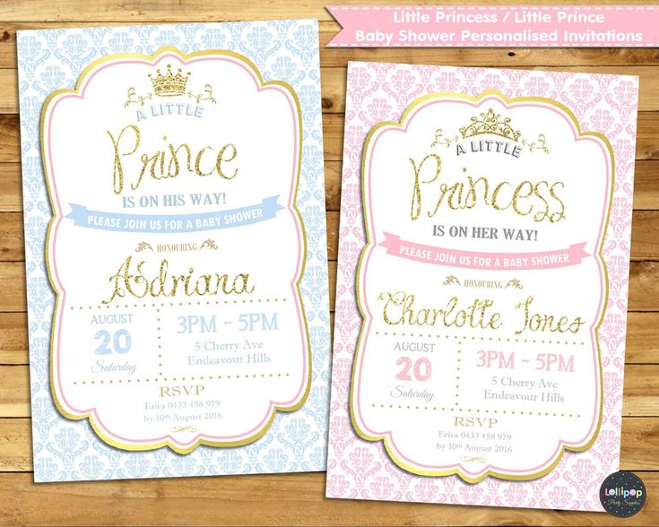 LITTLE PRINCESS PRINCE BABY SHOWER PERSONALISED INVITATION INVITE CARD GIRL BOY  #CUSTOMINVITATION #BABYSHOWER