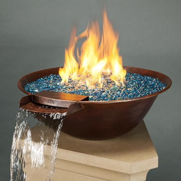 So Pleasing To The Senses Fire And Water Together In A Natural Copper Bowl Use Alone Or In Pairs For An Exciting Out Fire Bowls Water Bowl Garden Pond Design