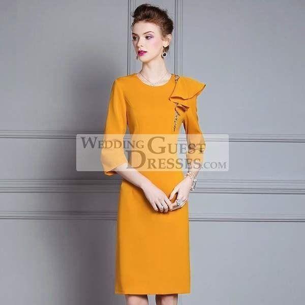 3 4 Sleeve Formal Pencil Red Black Yellow Dress Ruffle Fall Wedding Guest Dr 1000 In 2020 Fall Wedding Guest Dress Ruffle Dress Dresses,Buy Wedding Dresses Online Australia