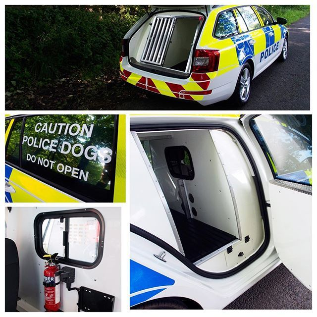 Skoda Octavia Police Dog Van Conversion. #skoda #policecar #policedogs #policedogvan #dogunit #dogvan #dogtransitkennel #dogbox #dogvanconversion #britishmade #bespoke #workingdogs #animaltransitboxes