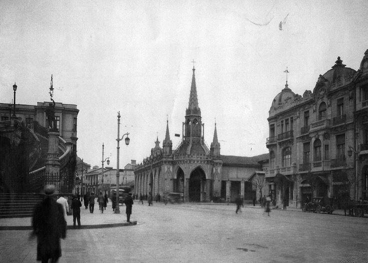 Iglesia de Las Carmelitas en Carmen con Alameda a los pies del cerro Santa Lucía en Agosto de 1932.