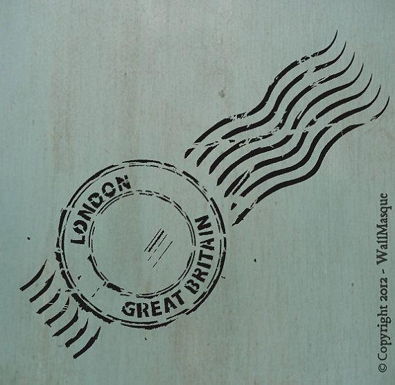 Beautiful stencils, great price!  London Stamp Stencil - 4.87; x 12; via Etsy