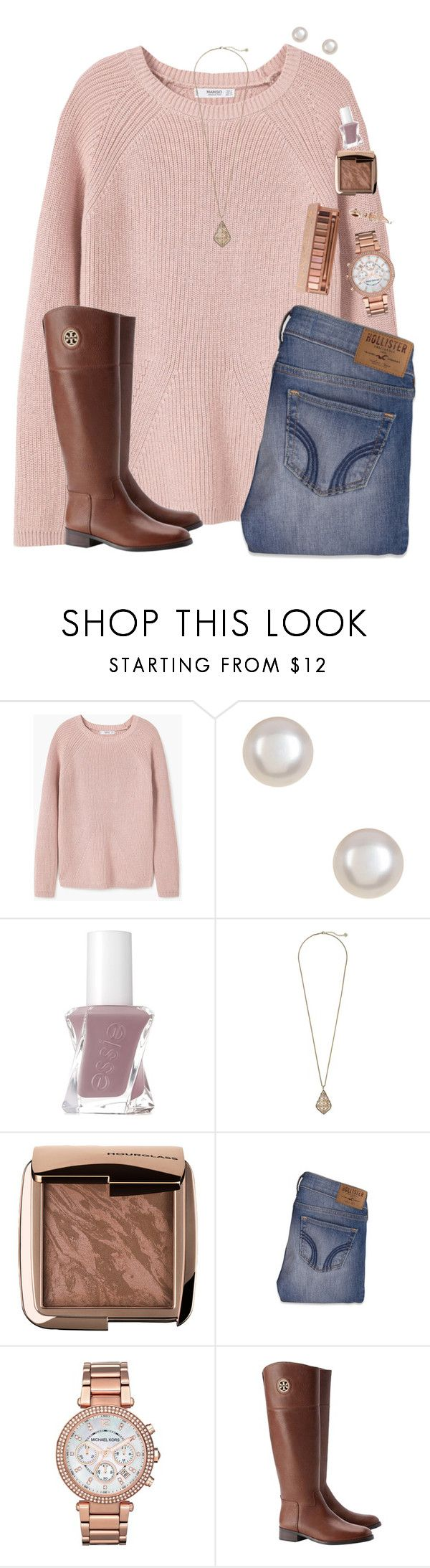 """""""tbh i'm obsessed with rose tones"""" by chevron-elephants ❤ liked on Polyvore featuring MANGO, Essie, Kendra Scott, Hourglass Cosmetics, Hollister Co., Michael Kors, Tory Burch and Urban Decay"""