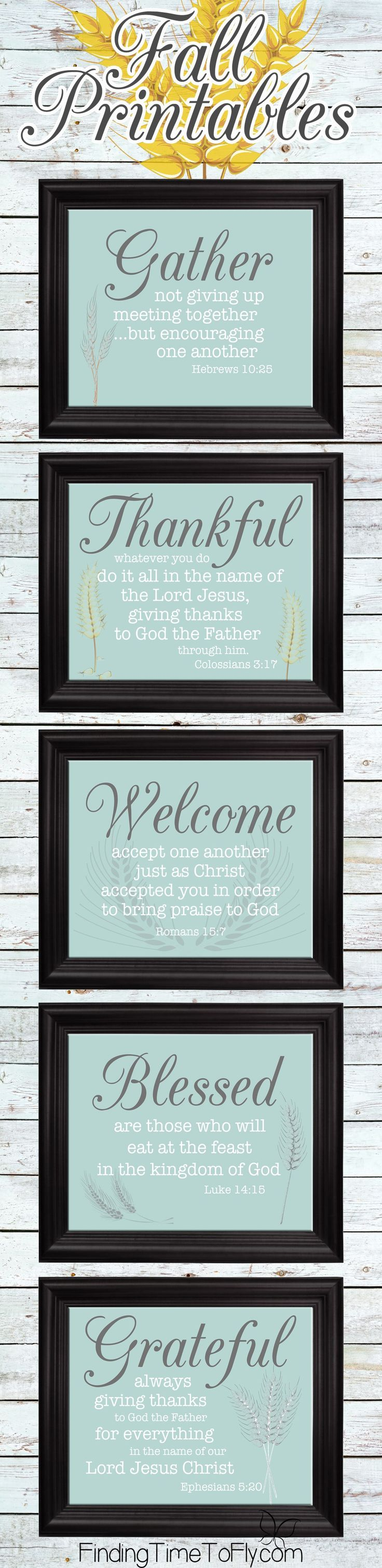 Gorgeous fall printables in blue (hard to find!) with Bible verses, too!