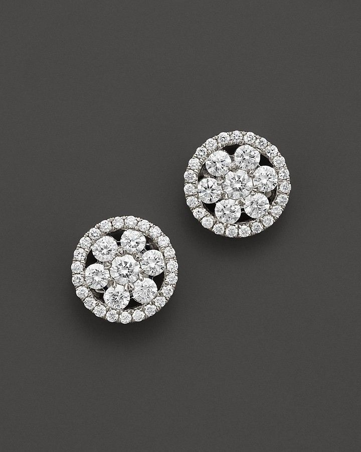 c2d4dcf71 Roberto Coin 18K White Gold Diamond Round Cluster Earrings on shopstyle.com