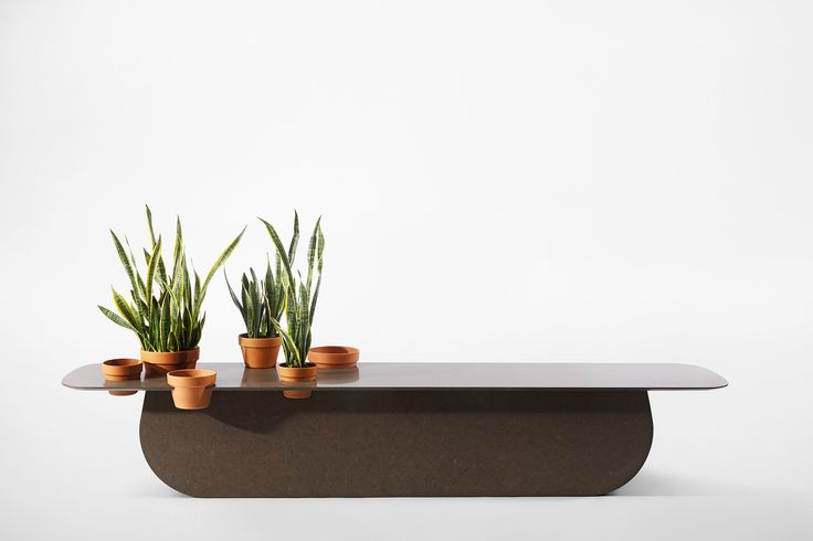 Instead of being placed atop the surface, pot-plants are slotted into suitable enclaves which create an overall orderly appearance