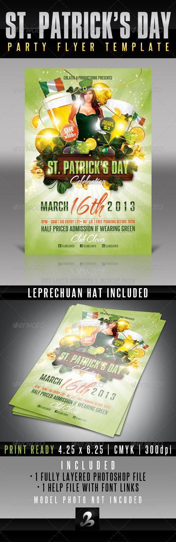 17 best images about nightlife poster flyer st patrick s day party flyer template 3
