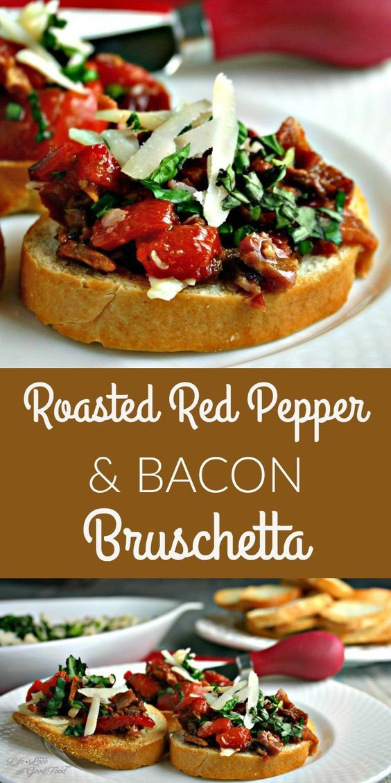 Roasted Red Pepper Bacon Bruschetta Cake And
