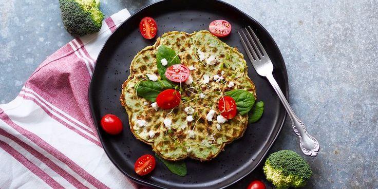 Vaffel med broccoli og ost