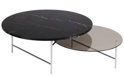 Table basse Zorro / 2 plateaux - Marbre & verre - La Chance