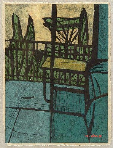 Tadashige Ono 1909-1990 - Terrace of Painter's House - artelino Art Auctions.