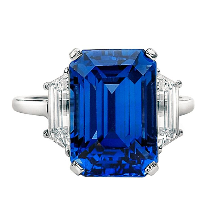 1stdibs | Rare Burmese Sapphire Diamond Ring, This rare 10.93ct. Emerald Cut Sapphire Ring is truly a beauty. Non heat treated, set in Platinum and adorned with 1.00ct. tw. of trapezoids on each side. AGL Certificate accompanies this item.  David Rosenberg  485.000.00 USD
