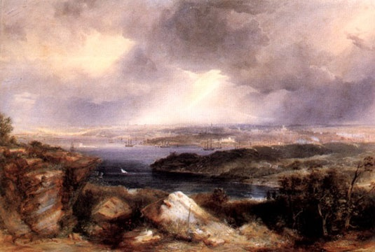Vintage painting - dark clouds over Neutral Bay by Conrad Martens 1857 - watercolours