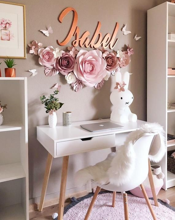 Paper Flowers Set Girls Nursery Wall Decor Nursery Paper