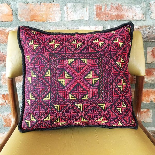 Flawlessly hand embroidered on black Egyptian cotton, this cover is named after Cale ~ the daughter of Zeus. It is told that her beauty surpassed even Aphrodite's.  Black with purple, red and yellow accents. 40cm x 40cm. Available @laviebohemedecor. Free Delivery in South Africa.