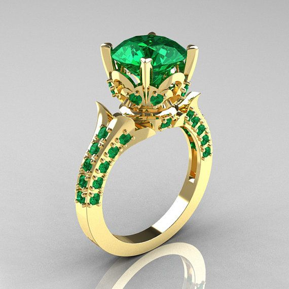 Classic French 14K Yellow Gold 3.0 Carat Emerald by artmasters, $1149.00
