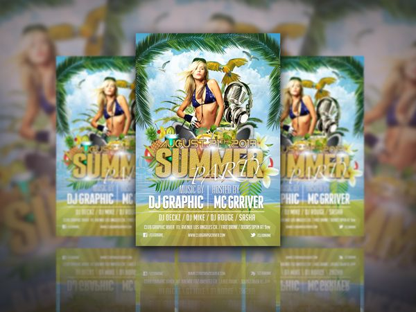Summer party Free flyer design template