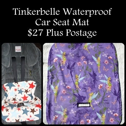 Tinkerbelle Waterproof Car Seat Mat -   More fabric options available - http://www.facebook.com/media/set/?set=a.423115456319.212425.325318651319=3
