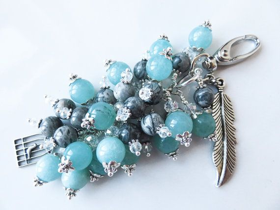 Check out this item in my Etsy shop https://www.etsy.com/uk/listing/484228937/blue-bag-charm-light-blue-grey-gift-idea