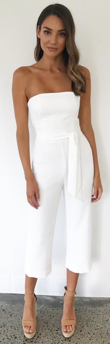#winter #outfits white off-shoulder jumpsuit