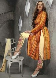 Casual Wear Cotton Yellow Printed Churidar Suit