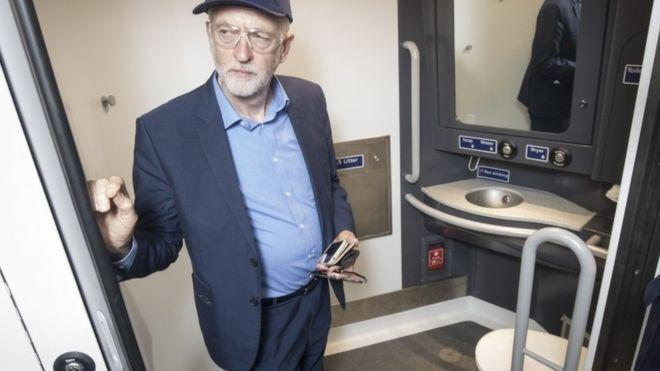 Jeremy Corbyn in a toilet