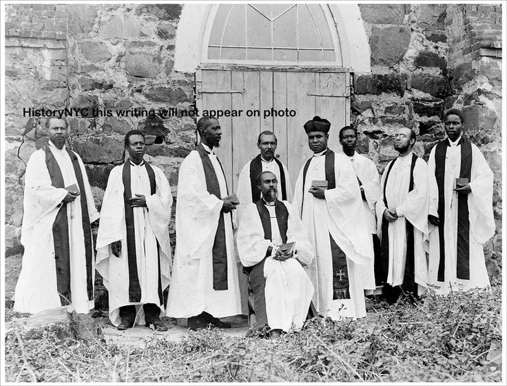 "Protestant Episcopal bishop and clergy in Liberia in 1895. The photograph was taken by the American Colonization Society. The society was founded in 1816 to assist free black people in emigrating to Africa. It was the brainchild of the Reverend Robert Finley, a minister from Basking Ridge, New Jersey. Finley believed that blacks would never be fully integrated into American society and that they would only be able to fulfill their potential as human beings in Africa, the ""land of their…"