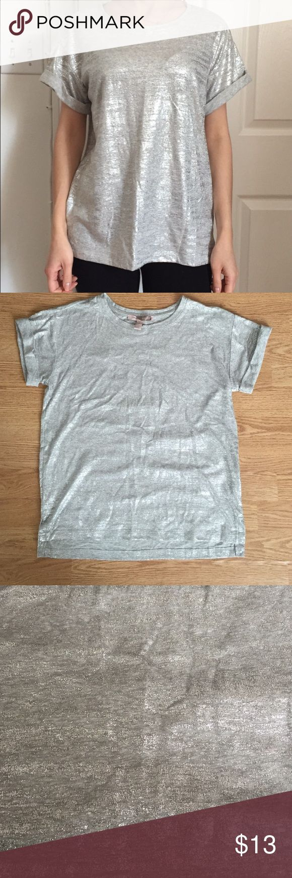 Silver top Silver short sleeve top. New, never been worn. Forever 21 Tops