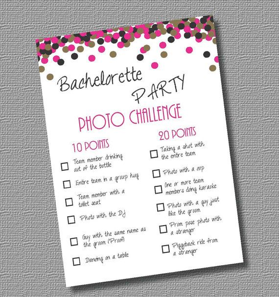 Digital Ready to Print PDF Bachelorette Party Game- Photo Challenge by InStyleInSpirations, $4.00