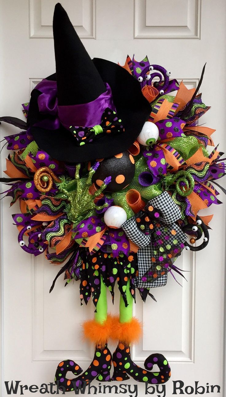 XL Deco Mesh Halloween Witch Wreath in Green, Purple, Black & Orange, Fall Wreath, Polka Dot Witch, Halloween Decor, Whimsical Halloween by WreathWhimsybyRobin on Etsy