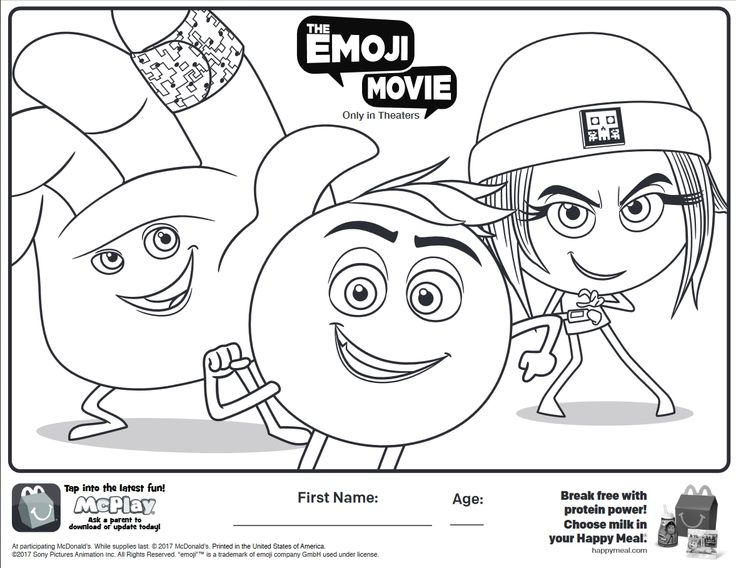 Here is the Happy Meal The Emoji Movie Coloring Page