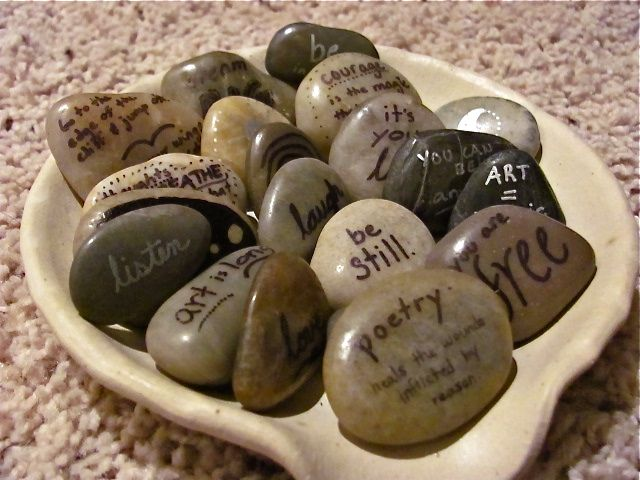 Healing Stones. All you need is a sharpie, river rocks, and some inspiration. - Ariadne Nonemos (aka ZirielZero on Flickr)