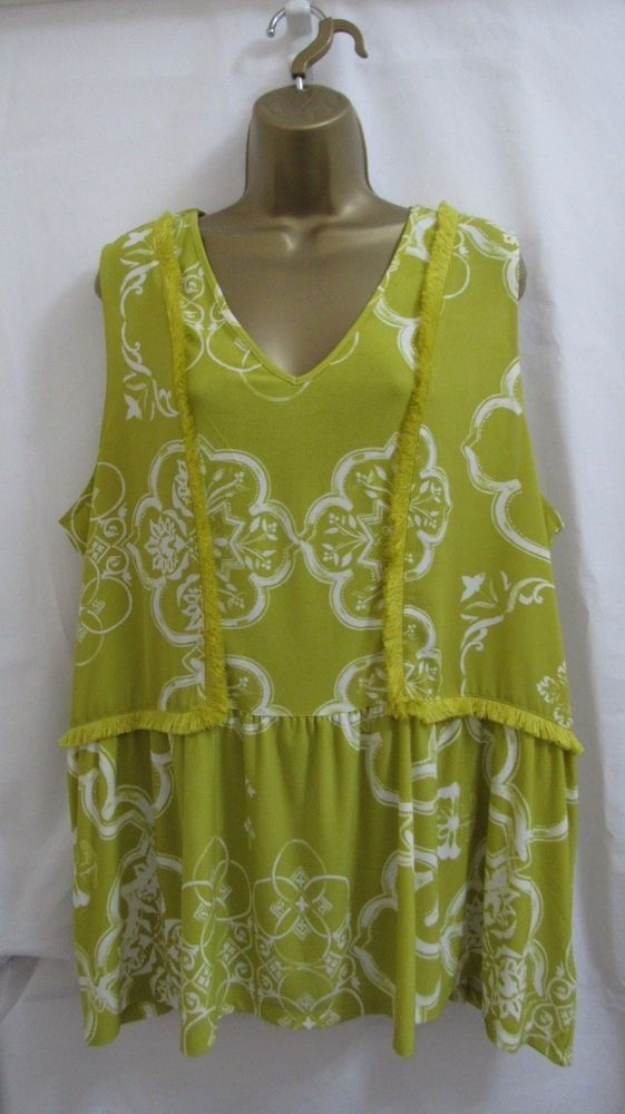 91fef05aa33 NEXT Ladies LIME WHITE FLORAL Sleeveless Tunic Top Plus size 22  fashion   clothing  shoes  accessories  womensclothing  tops (ebay link)