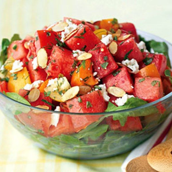 Tomato-Watermelon Salad with Feta and Toasted Almonds recipe | Epicurious.com