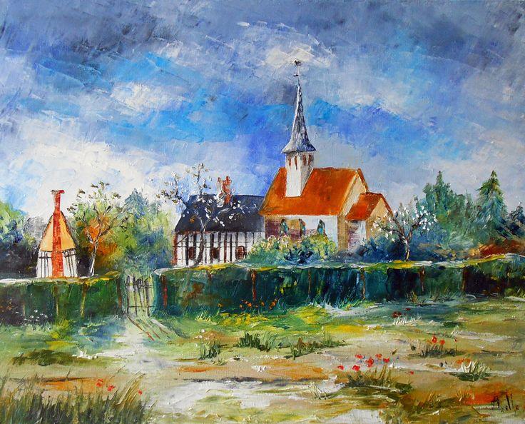 """Tableau paysage """"Village de Normandie"""" - peintures-axelle-bosler : Peintures par peintures-axelle-bosler"""