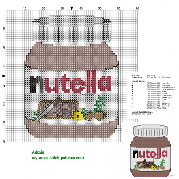 Nutella jar cross stitch pattern 50 x 65 stitches 13 DMC threads (click to view)