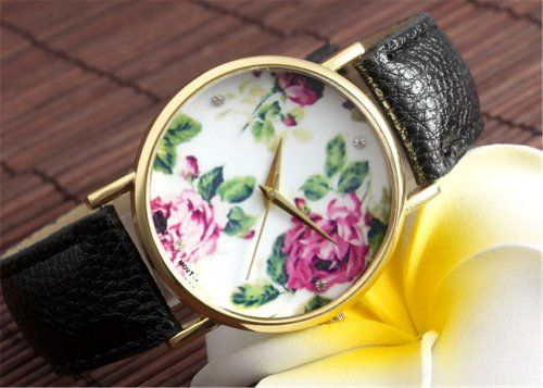 Better Dealz Vintage Blume Damen Armbanduhr Basel-Stil Quarzuhr Lederarmband Uhr Top Watch #3,Schwarz