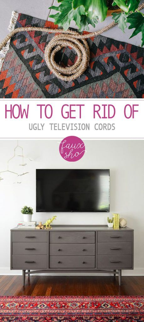 How to Get Rid of Ugly Television Cords| Television Cords, How to Hide Television Cords, Home Hacks, Home Organization, Declutter Your Home, Home Hacks. #HomeOrganization #CordOrganization #OrganizeCords