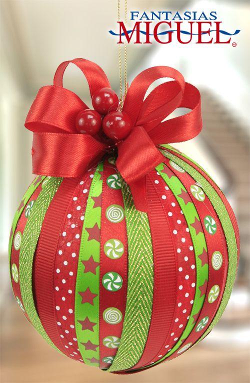 Esfera con list n navidad 2014 adorno decoraci n - Decoracion de navidad manualidades ...