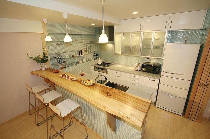 ikea kitchen | IKEA(イケア)キッチン 無垢一枚板カウンター|Guest ...