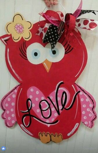 Valentines Wooden Door Hanger / painted at Craft Night Out located in Historic Downtown Statesville Nc...follow us on Facebook