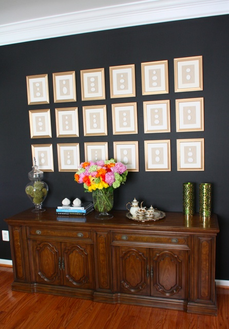 Simple yet so profound for the wall.: Wall Colors, Wall Decor, Frames Intaglio, Photos Galleries, Blank Wall, Black And White, Kiki Lists, Galleries Wall, Dining Rooms Wall