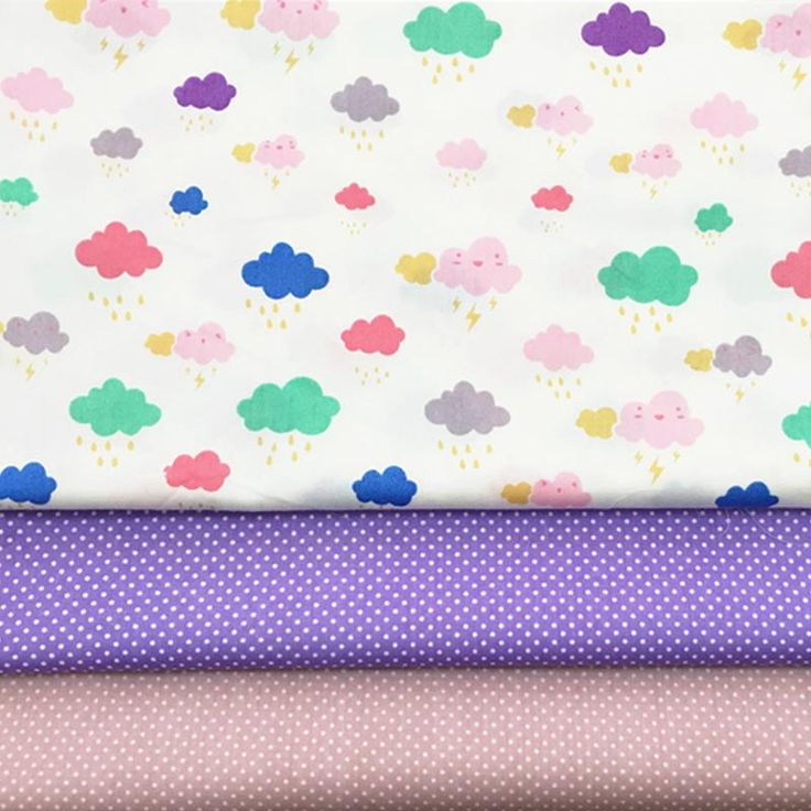 100% cotton nordic wind color clouds purple pink polka dots twill cloth DIY for kids bedding crib tent handwork patchwork tissue #Affiliate