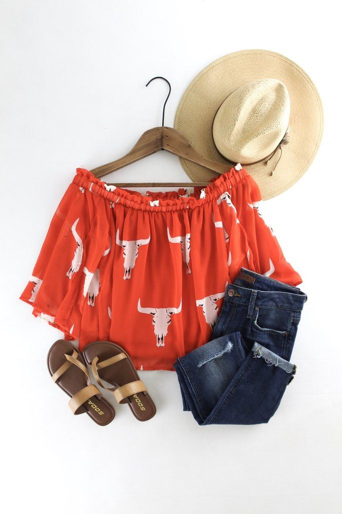 Could Pair different off the shoulder top with tight rolled up jeans, and converse or sandels