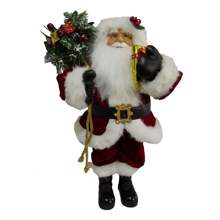 Traditional 18.5-in. Santa Figurine Table Decor, Red