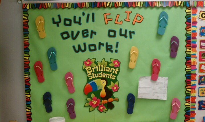 maybe for our hallway bulletin board--with school beach theme for next year.