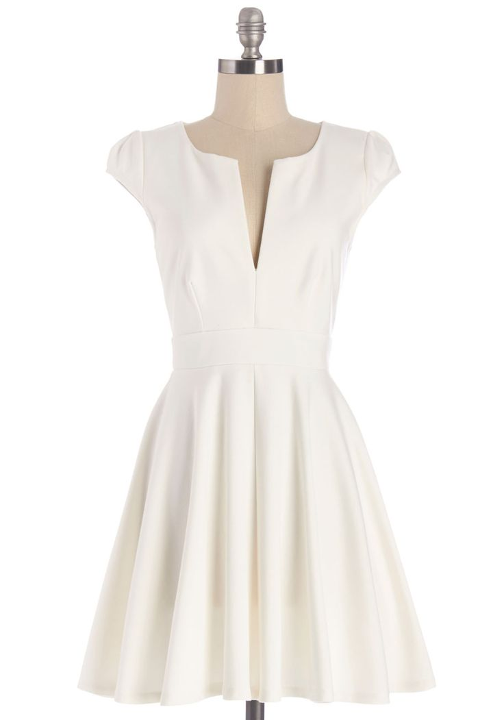 All I Do is Winsome Dress. Its not uncommon for you to flaunt ensembles as sweet and charming as your disposition, and tonight is no different since youre wearing this white A-line dress! #white #modcloth