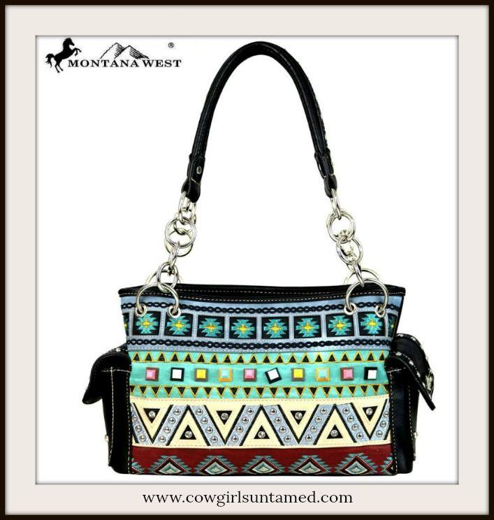 COWGIRL GYPSY HANDBAG Multi Color Aztec Embroidery on Designer Black Satchel  #embroidery #aztec #tribal #rhinestone #gypsy #cowgirl #handbag #satchel #purse #boutique #designer #beautiful