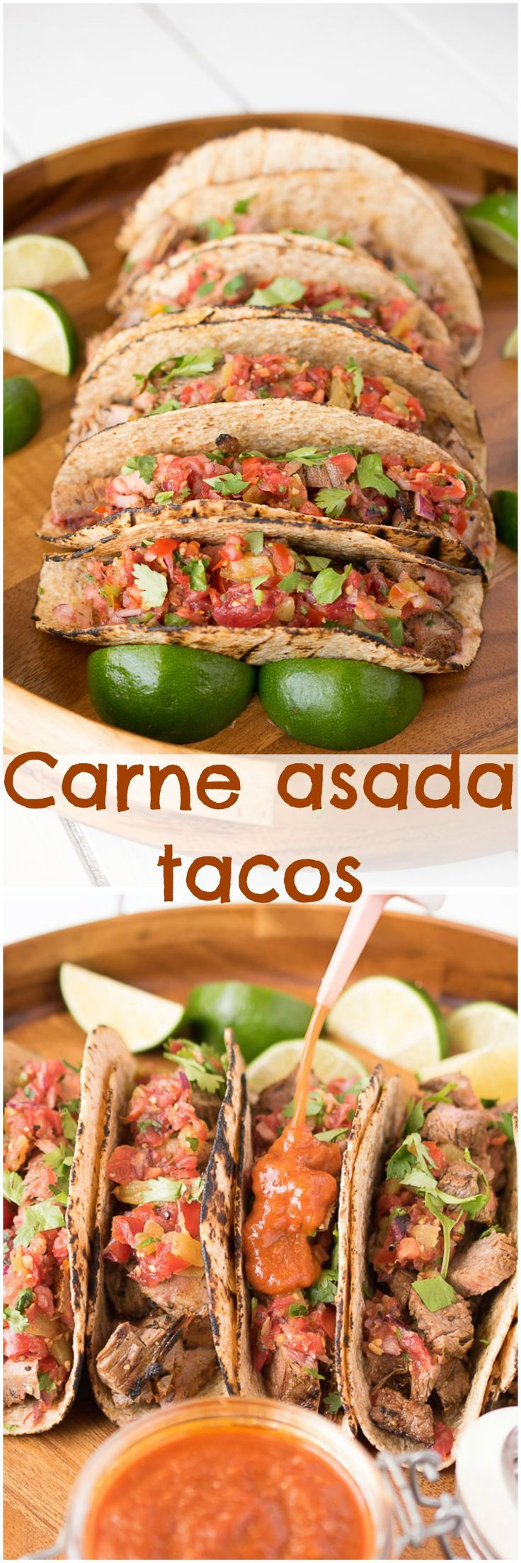 Carne asada tacos. Flank steak marinated in citrus and spices, grilled to perfection and served in grilled tortillas with your favorite salsa.